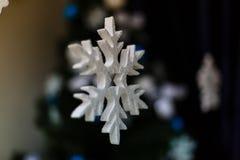 Snowflake foam Christmas ornaments Royalty Free Stock Photography