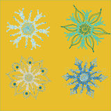 Snowflake2. Four options of snowflakes in a square  illustration Royalty Free Stock Image