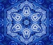 Snowflake fractal design. Snowflake kaleidoscope, blue white frost design royalty free stock photo