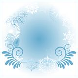Snowflake Frame. Several different snowflakes layerd for easy editing Stock Photo