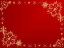 Snowflake frame. Golden snowflake border on a red background Royalty Free Stock Image