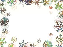 Snowflake frame. Multi coloured frame made of snowflakes Stock Image