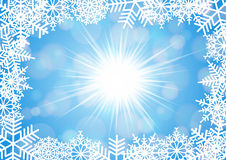 Snowflake frame with background. Illustration of Christmas background in white and blue colors with snowflakes in various styles Royalty Free Stock Image