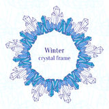 Snowflake Frame. Blue Ice Crystals Decoration Royalty Free Stock Photo
