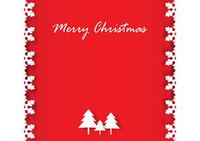 Snowflake frame and Christmas tree on red background. Vector illustration paper art style Stock Photos