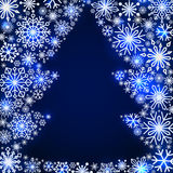Snowflake frame in the shape of a Christmas tree. Winter theme. New Year s and Christmas. Snowflakes of different shapes and sizes. Vector illustration Stock Photo