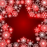 Snowflake frame in the shape of a star. Winter theme. New Year s and Christmas.. Snowflakes of different shapes and sizes. Vector illustration Royalty Free Stock Image