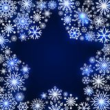Snowflake frame in the shape of a star. Winter theme. New Year s and Christmas. Snowflakes of different shapes and sizes. Vector illustration Stock Photo