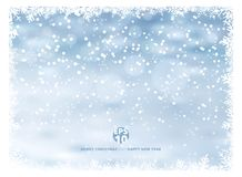 Snowflake frame winter background with snow on christmas holiday. And happy new year. Vector illustration. Copy space Stock Photography