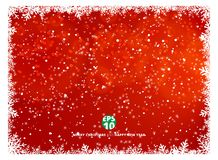 Snowflake frame winter red background with snow on christmas hol. Iday and happy new year. Vector illustration. Copy space Royalty Free Stock Images