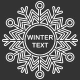 Snowflake frame. Winter theme. New Year s and Christmas. Vector Image. Snowflake frame. Winter theme. New Year s and Christmas. Vector illustration Royalty Free Stock Photography