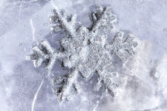 Snowflake frozen in ice winter season Stock Photos
