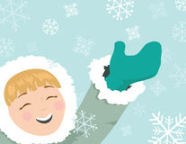 Snowflake Fun. An illustration of a cute girl having fun in the snow Royalty Free Stock Photography