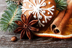 Snowflake gingerbread cookie and spices Royalty Free Stock Photo