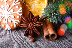 Snowflake gingerbread cookie and spices Royalty Free Stock Image