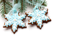 Snowflake gingerbread cookies royalty free stock images