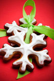 Snowflake gingerbread cookies Royalty Free Stock Photography