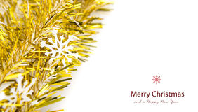 Snowflake on gold ribbon Stock Photography