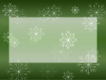 Snowflake on Green Card Stock Photography