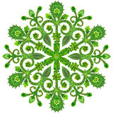Snowflake from  green summer flowers Stock Photo