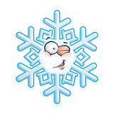 Snowflake Head - Winking. Cartoon illustration of a snowflake emoticon smiling and winking Stock Image
