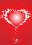 Snowflake heart red Stock Images