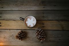 Snowflake in Hot Chocolate royalty free stock image