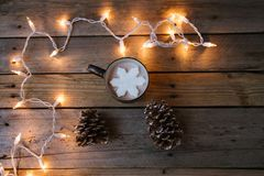 Snowflake in Hot Chocolate royalty free stock photography