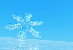 Snowflake on ice. Royalty Free Stock Photos