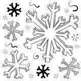 Snowflake and ice crystal illustration Royalty Free Stock Images