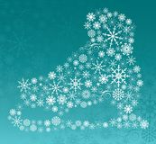 Ice Skate Created with Assorted Snowflakes stock illustration
