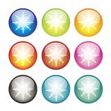 Snowflake icon. S on spherical background. Vector illustration Royalty Free Stock Images