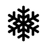 Snowflake icon. Christmas and winter theme. Simple flat black illustration on white background stock photo
