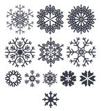Snowflake icon collection isolated on white background Royalty Free Stock Photos