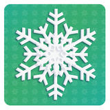 SNOWFLAKE 2019 craft paper christmas decoration. Snowflake icon on paper craft color GREEN background. Christmas and New Year decoration. You can use this royalty free illustration