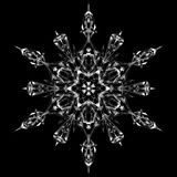 Snowflake icon graphic sign symbol drawing. White snowflake isolated on black background. High resolution detailed graphic Royalty Free Stock Images