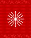 Snowflake icon over red background. Xmas cover design. White snowflake icon over red background. Xmas cover design. Festive background with dots and stars vector illustration