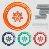 Snowflake icon on the red, blue, green, orange buttons for your website and design with space text. Illustration Stock Photos