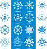 Snowflake Icon Set. Icon set of 8 different snowflakes - each in two color choices vector illustration