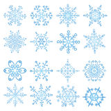 Snowflake icon set. Colored Winter doodles decor Stock Photo