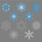 Snowflake icon set. Icon set of 5 different snowflakes you can make them flowers Stock Image