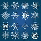 Snowflake icon set. Winter doodles decor Stock Images