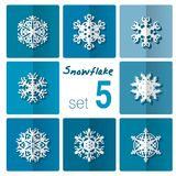 Snowflake icon. Winter theme. Winter snowflakes of different shapes. Royalty Free Stock Images