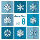 Snowflake icon. Winter theme. Winter snowflakes of different shapes. Royalty Free Stock Photography