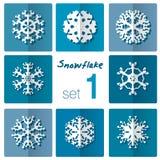 Snowflake icon. Winter theme. Winter snowflakes of different shapes. Stock Photos