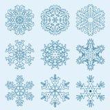 Snowflake icon. Winter theme. Winter snowflakes of different shapes. Royalty Free Stock Photo