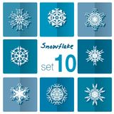 Snowflake icon. Winter theme. Winter snowflakes of different shapes. Stock Images