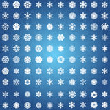 Snowflake icon. Winter theme. Winter snowflakes of different shapes. Royalty Free Stock Image