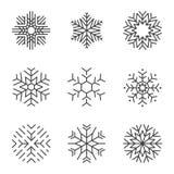 Snowflake icons set Stock Photos