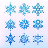 Snowflake icons set. Christmas holiday symbol. Snow for creation of New Year artistic compositions. Winter decoration vector. Stock Photography